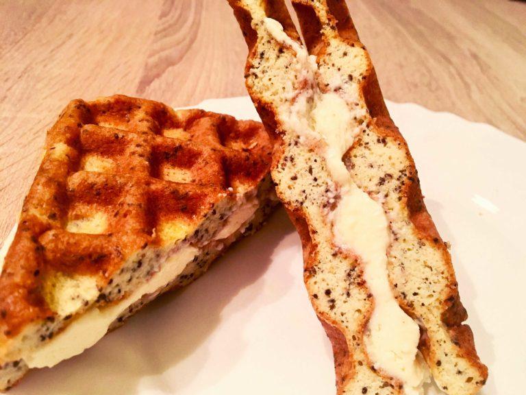 Keto waffles – savoury edition with Kajmak or Staka