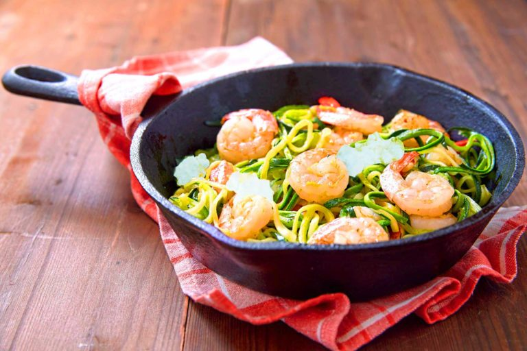 Greek Shrimp Zoodles With Typical Medi Spices