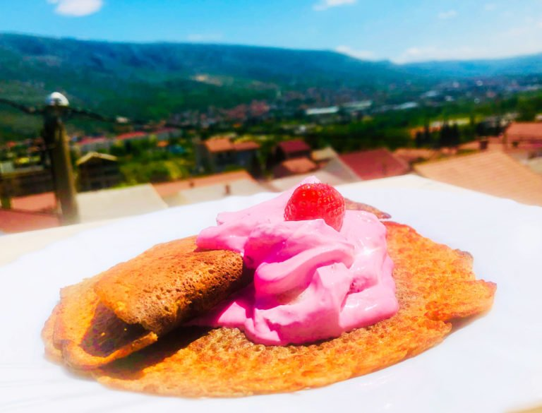 Ground seeds Keto crepes with creamy berries
