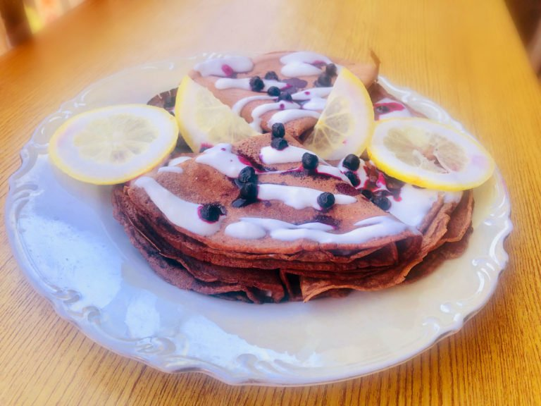 Keto choco crepes with lemon yoghurt sauce