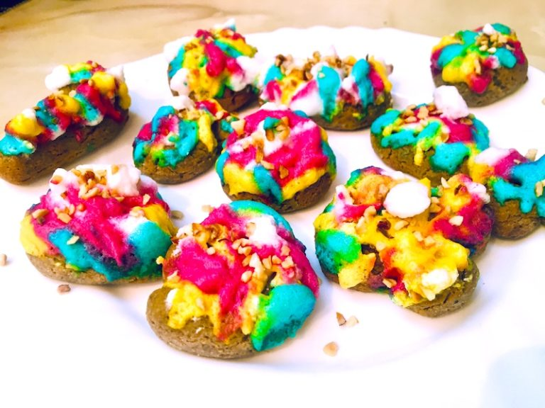 Black pepper Keto cookies with joyful rainbow icing