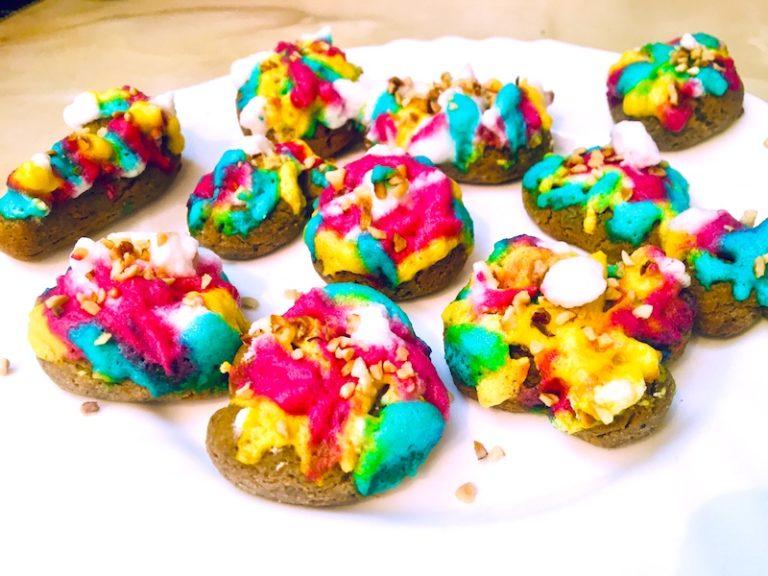 Black pepper Keto cookies with joyful rainbow icing