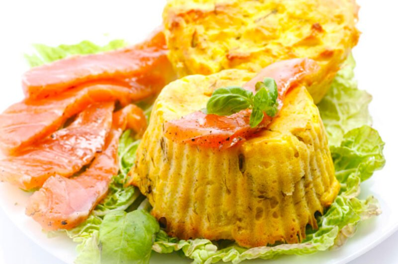 Keto egg muffins with salmon and Mediterranean herbs