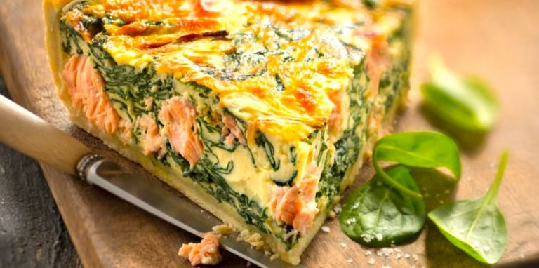 Keto salmon pie with basil and macadamia nuts